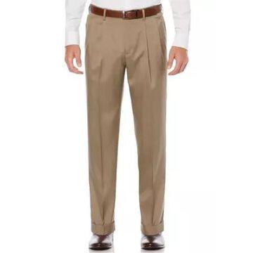 Savane Men's Pleated Stretch Crosshatch Dress Pants - -