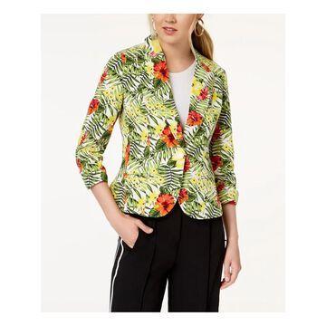 XOXO Womens White Ruched Sleeve Striped Blazer Jacket Size: S