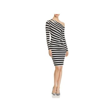 Three Dots Womens Cocktail Dress Striped Long Sleeves - L