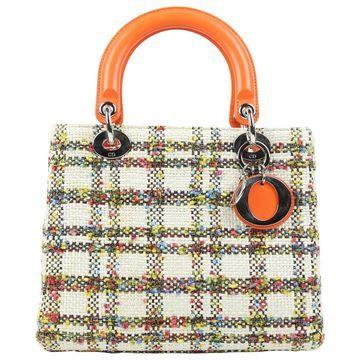 Dior Lady Dior Ecru Cloth Handbag