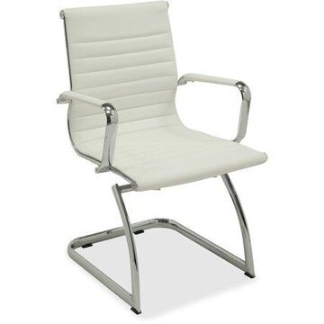 Lorell Modern Leather Guest Reception Waiting Room Chair with Chromed Metal Arms