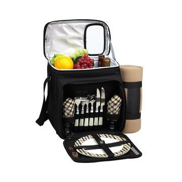 Insulated Picnic Basket, Cooler Fully Equipped for 2 with Blanket