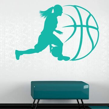 Style And Apply Contemporary Lady Basketball Wall Decal