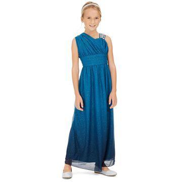 Big Girls One-Shoulder Ombré Dress