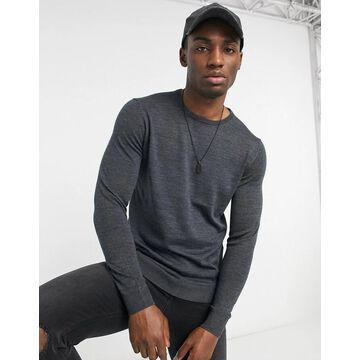 Selected Homme new merino crew neck sweater-Grey