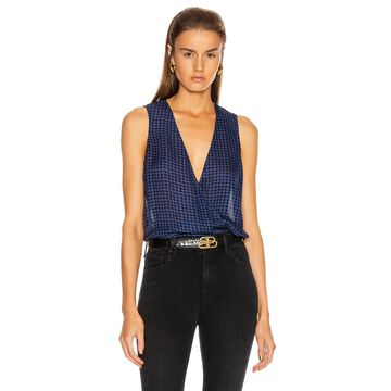 L'AGENCE Mila Draped Sleeveless Top in Black & Oceana Houndstooth | FWRD