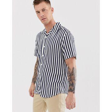 Only & Sons navy stripe revere collar shirt in regular fit