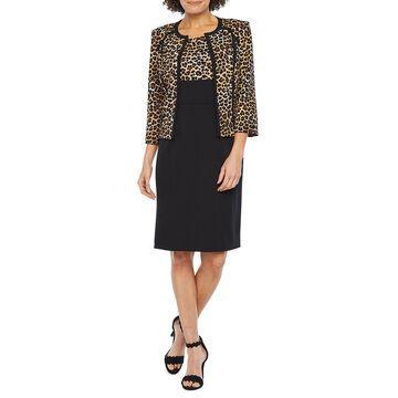 Studio 1 3/4 Sleeve Animal Print Jacket Dress
