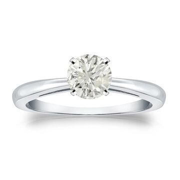 Auriya Platinum 1/2ctw Round Solitaire Diamond Engagement Ring