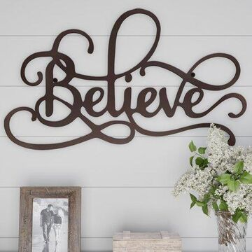 Metal Cutout- Believe Decorative Wall Sign-3D Word Art Home Accent Decor-Perfect for Modern Rustic or Vintage Farmhouse Style by Lavish Home