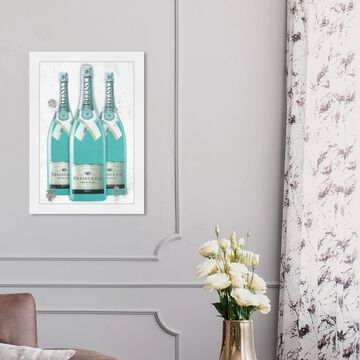 Oliver Gal 'Diamonds and Bubbles Champagne' Fashion and Glam Framed Wall Art Prints Lifestyle - Blue, White