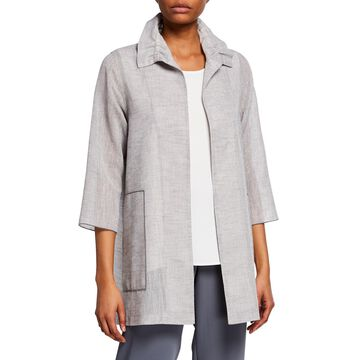 On The Glow Jacquard Open-Front 3/4-Sleeve Easy Shirt