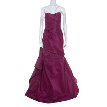 Monique Lhuillier Garnet Purple Silk Tufted Skirt Strapless Gown XL