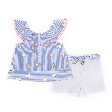 Baby Girl Little Lass Foiled Butterfly Tank Top & Shorts Set