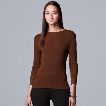 Petite Simply Vera Vera Wang Ribbed Sweater