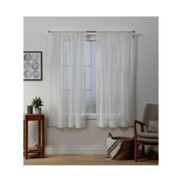 "Exclusive Home Itaji Sheer Rod Pocket Top Curtain Panel Pair, 54"" x 63"""