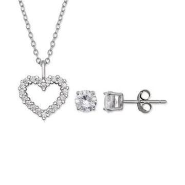 Giani Bernini 2-Pc. Set Cubic Zirconia Heart Pendant Necklace & Stud Earrings in Sterling Silver, Created for Macys