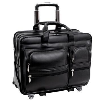 McKlein 88445 17 in. Clinton Leather 2-in-1 Removable-Wheeled Laptop Case