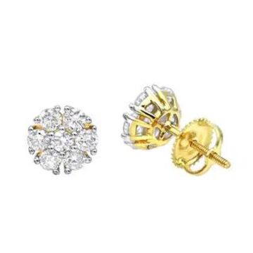 Unique Diamond Earrings Studs in 14k Gold 1ctw by Luxurman (Yellow)