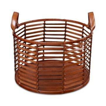 Madison Park Signature Newport Leather Stripe Basket Small