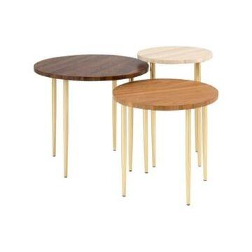 Walker Edison 3 Piece Round Nesting Coffee Table Set