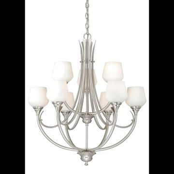 Vaxcel Lighting H0127 Grafton 9 Light Two Tier Chandelier with Glass Shades - 28.5 Inches Wide Satin Nickel Indoor Lighting Chandeliers