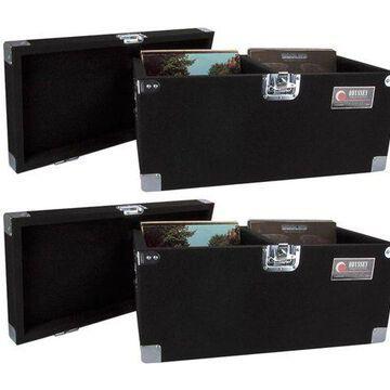 2 Odyssey CLP200P Carpeted Pro DJ Cases w/Detachable Lid - 400 LP Vinyl Records