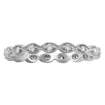 10k White Gold 1/4ct Diamond Vintage Eternity Band Ring by Beverly Hills Charm (9)