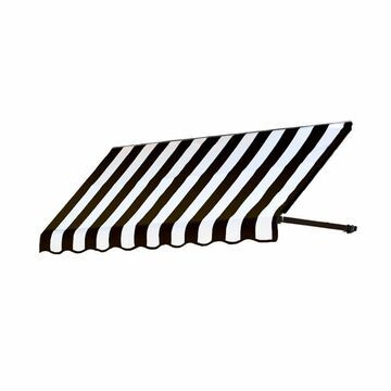 Awntech Dallas Retro 64.5-in Wide x 36-in Projection Black/White Striped Striped Open Slope Window/Door Fixed Awning