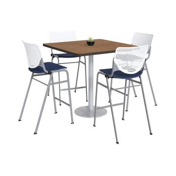 KFI KOOL Bistro Table & Chair set, Cherry Table Top (42 inch table top - White/Navy)