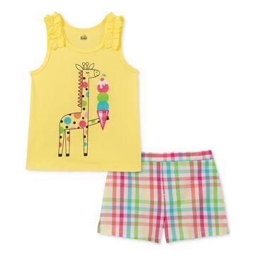Little Girls 2-Pc. Giraffe Tank Top & Plaid Shorts Set