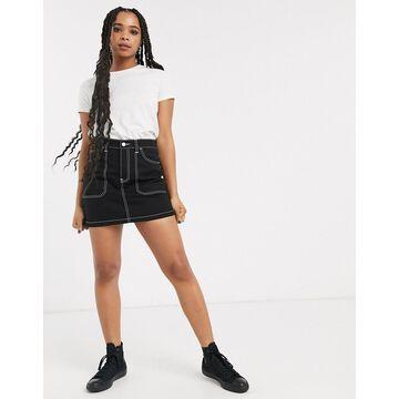 Dr Denim contrast stitch detail mini skirt-Black