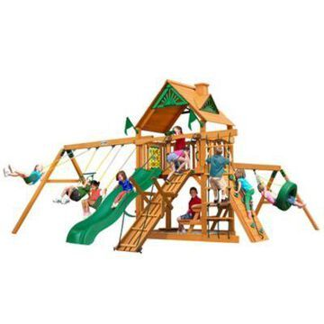Gorilla Playsets Frontier Wood Swing Set w/ Wood Roof, 21 ft. 6 in. x 19 ft. x 11 ft., For Kids Ages 3-11, 01-0004-AP