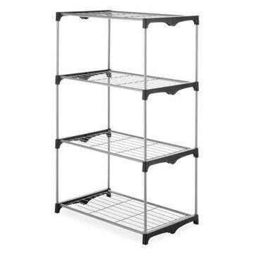 Whitmor 4-Tier Shelf Tower - Closet Storage Organizer - Black & Silver - 19.5