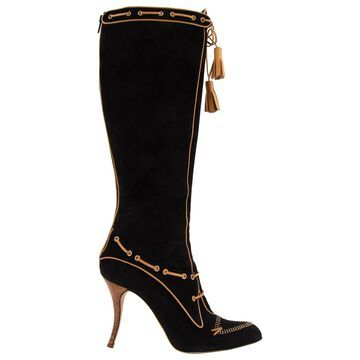 Manolo Blahnik Black Suede Boots