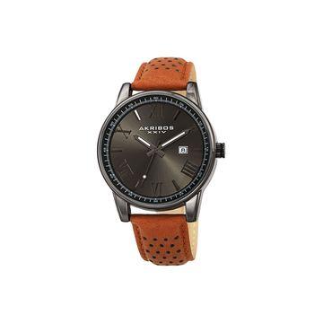 Akribos XXIV Mens Brown Leather Strap Watch-A-1048gn