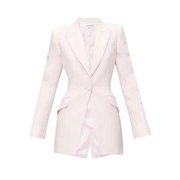 Alexander Mcqueen - Single-breasted Wool-blend Leaf-crepe Jacket - Womens - Light Pink