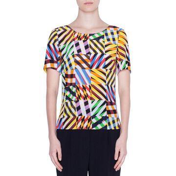 Patchwork Silk Short-Sleeve Shirt
