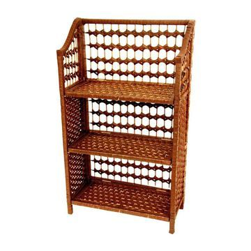 Oriental Furniture 10.25-in D x 19.75-in W x 35.5-in H 3-Tier Wood Decorative Shelving Unit in Yellow | JH09-018-3-HON