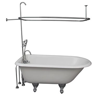 Barclay 30-in W x 55.5-in L White Cast Iron Oval Back Center Drain Clawfoot Soaking Bathtub and Faucet Included   TKCTRH54-CP2