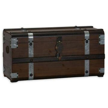 Household Essentials Steel Band Large Wooden Storage Trunk