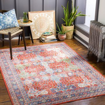 Art of Knot Talia Bright Red 2 ft. 7 in. x 7 ft. 3 in. Indoor Machine Washable Runner Rug