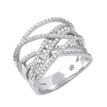 14K White Gold 1ct TDW Diamond Multi-Row Crossover Ring by Beverly Hills Charm