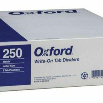 ''Oxford Manila Tab Dividers, Blank, 5-Tab, Box Of 50 Sets''