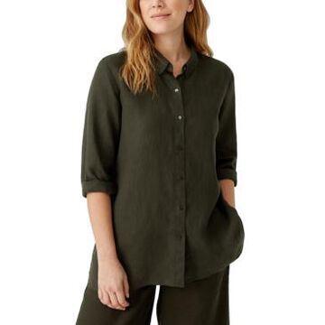 Eileen Fisher Organic Linen Classic-Collar Shirt