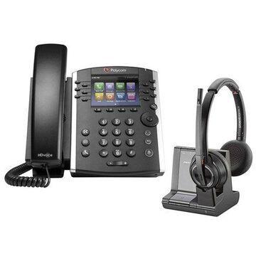 Polycom VVX 401 Corded Voice Over IP Phone with Savi W8220 Wireless Headset