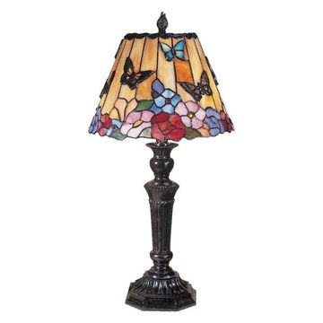 Dale Tiffany Tt100587 Butterfly /Peony Tiffany Table Lamp