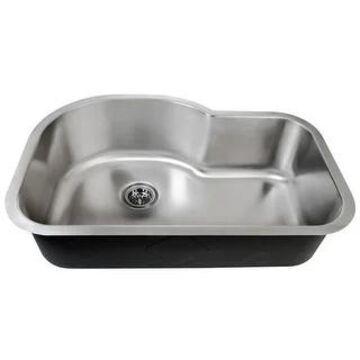 "Miseno MSS3121C 31-1/2"" Single Basin 16-Gauge Stainless Steel Kitchen - 16 Gauge Stainless Steel"