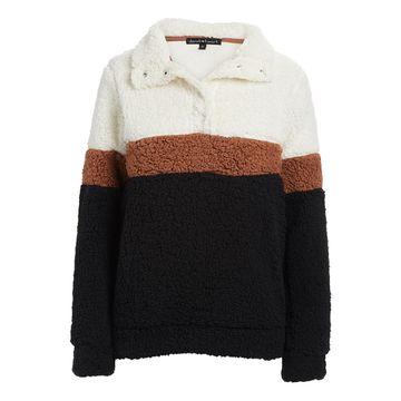 Derek Heart Women's Sweatshirts and Hoodies CREAM/BLACK - Cream & Black Color Block Plush Pullover - Juniors