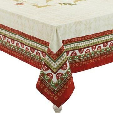 Laural Home Simply Christmas 70-Inch x 144-Inch Oblong Tablecloth in Red/Beige
